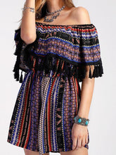 Load image into Gallery viewer, Off Shoulder Tassel Vintage Rompers