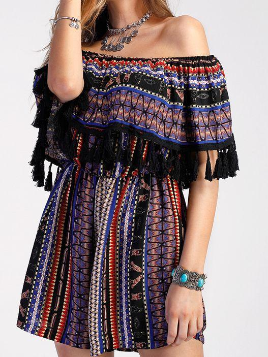 Off Shoulder Tassel Vintage Rompers