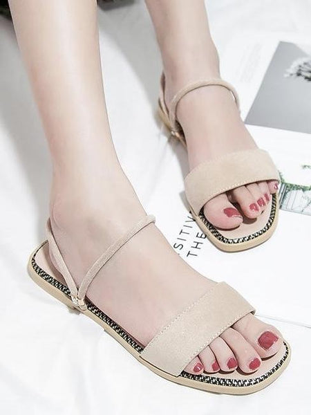 Summer Beach Flat Heel Sandals Solid Color Slippers