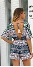 Load image into Gallery viewer, Print Deep V Neck Short Sleeve High Waist Jumpsuit Rompers