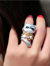 Load image into Gallery viewer, Cute Kitten Design 4 Pieces Enamel Rings Sets