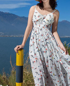 2018 New Floral Print Spaghetti Strap Split Chiffon Beach Maxi Dress