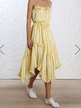 Load image into Gallery viewer, 2018 Stripe Sleeveless Irregular Beach Dress