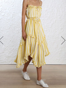 2018 Stripe Sleeveless Irregular Beach Dress