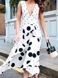 Polka Dot V Neck Sleeveless Maxi Dress