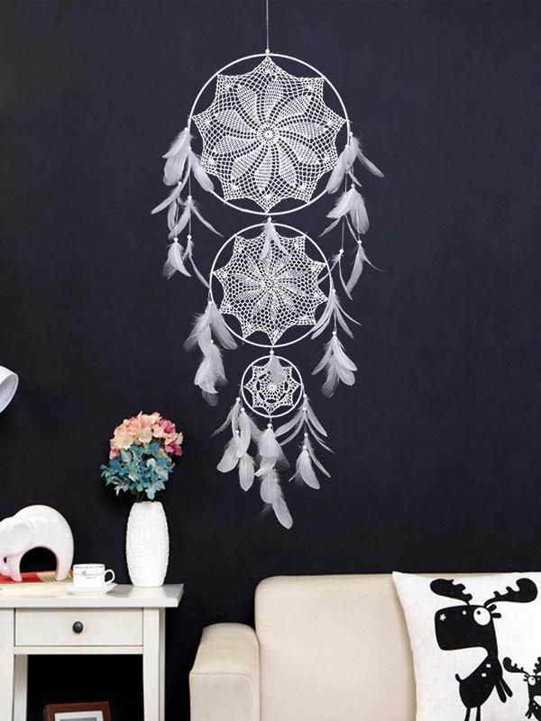 Handmade White Feather Boho Dream Catchers Wall Hanging Ornament