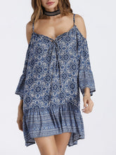 Load image into Gallery viewer, Print Spaghetti Strap Beach Mini Dress