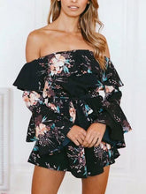 Load image into Gallery viewer, Flower Print Off Shoulder Beach Rompers