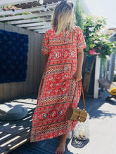 Load image into Gallery viewer, Casual Vintage Print Boho Summer Short Sleeve Plus Size Maxi Dress
