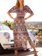 Load image into Gallery viewer, V-Neck Boho Print Large Swing Long Dress