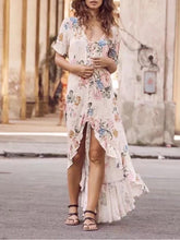 Load image into Gallery viewer, Chiffon Floral Print Short Sleeve Irregular Maxi Dress