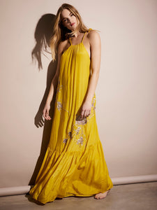 Bright COLOR Embroidered Flower Satin Bohemian Halter Dress