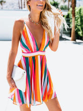 Load image into Gallery viewer, Colorful Stripe Spaghetti Strap Backless Mini Dress
