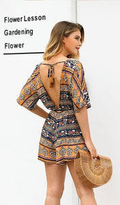 Print Deep V Neck Short Sleeve High Waist Jumpsuit Rompers