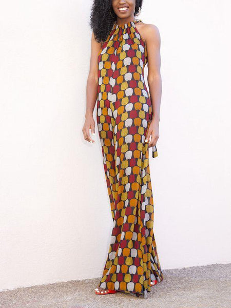 Print Sleeveless Wide Leg Pants Jumpsuit