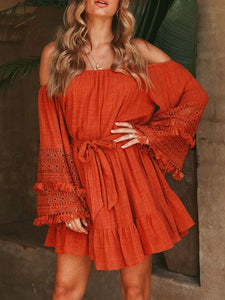 Bohemian Fringed Trumpet Sleeve Belt Off-The-Shoulder Dress