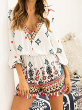 Load image into Gallery viewer, Holiday Bohemian Style Tassel Jumpsuit