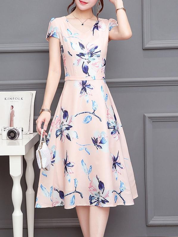 Floral Print Round Neck Short Sleeve Midi Dress
