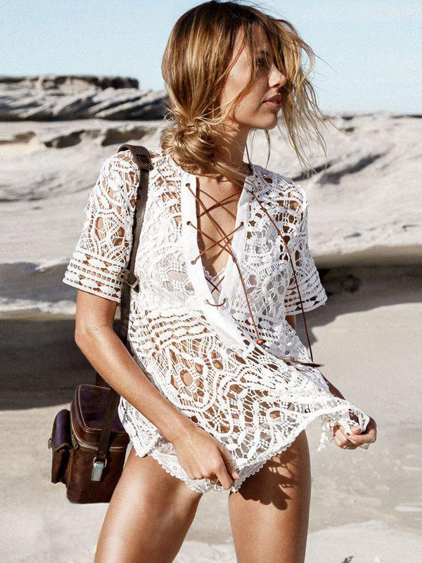 Bohemian Hollowed Flower Beach Cover-Up Bikini
