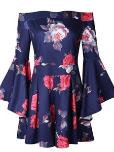 Floral Print Off Shoulder Flared Sleeve Boho Rompers