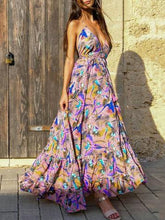 Load image into Gallery viewer, Bohemian Temperament Hanging Neck Backless Big Swing Dress