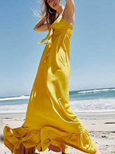 Load image into Gallery viewer, Long Bohemian Solid Color Sling Ruffled Tube Top Fishtail Dress