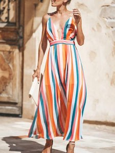 Colorful Stripe Spaghetti Strap Deep V Neck Maxi Dress