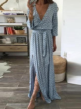 Load image into Gallery viewer, Print V Neck Belted Split Beach Maxi Dress