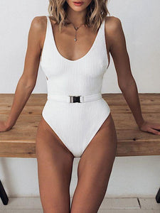 Solid Color Belt One-Piece Swimsuit Bikini