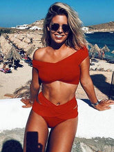 Load image into Gallery viewer, Off-The-Shoulder Bikini Cross Bandage Swimsuit Sexy Split Swimsuit