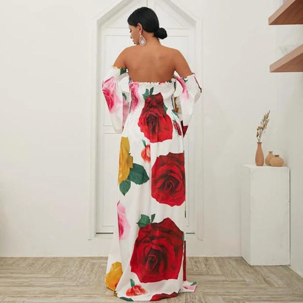 Floral Print Off Shoulder Beach Casual Maxi Dress