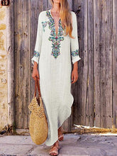 Load image into Gallery viewer, Autumn V Neck Long Sleeve Linen Cotton Maxi Dress