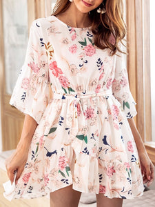 2018 Chiffon Floral Belted Beach Casual Mini Dress