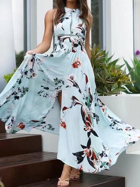 Print Sleeveless Split Beach Maxi Dress