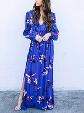 Load image into Gallery viewer, Floral Long Sleeve Side Split High Waist Bohemia Maxi Dress