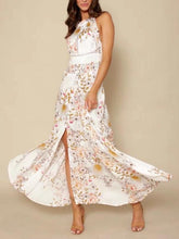 Load image into Gallery viewer, Floral Sleeveless Side Split Beach Maxi Dress