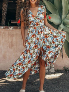 Floral V Neck Sleeveless Bohemia Irregular Maxi Dress