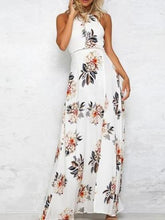 Load image into Gallery viewer, Floral Print Sleeveless Split Chiffon Beach Maxi Dress