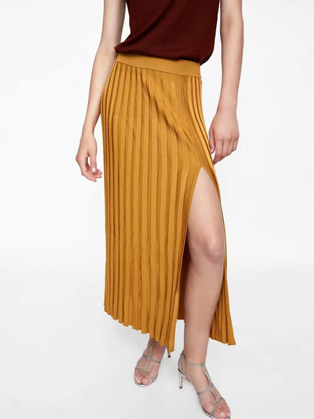 Knit High Waist Split Maxi Skirt