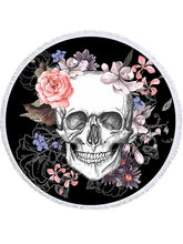 Load image into Gallery viewer, Cool Floral Skull Round Yoga Mat Print Tassel Summer Beach Towel
