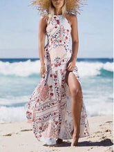 Load image into Gallery viewer, Seaside Vacation Retro Beach Big Swing Halterneck Split Dress