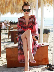 Long Sleeves V-neck Bohemia Maxi Beach Dress