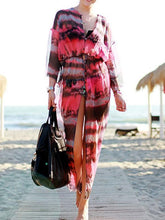 Load image into Gallery viewer, Long Sleeves V-neck Bohemia Maxi Beach Dress