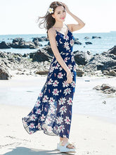 Load image into Gallery viewer, Spaghetti Neckline Floral Maxi Bohemia Dress
