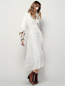 Popular Fashion Solid Color Half Sleeve V Neck Bohemia Beach Dress