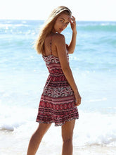 Load image into Gallery viewer, Bohemia Floral-Printed Straps Beach Mini Dress
