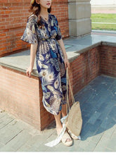 Load image into Gallery viewer, Retro Chiffon Printed Short Sleeve V Neck Bohemia Beach Dress