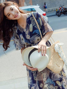Retro Chiffon Printed Short Sleeve V Neck Bohemia Beach Dress