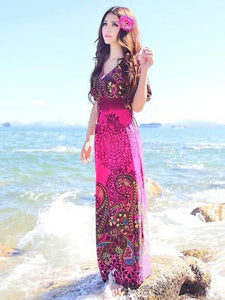 Bohemia Floral-Printed Short Sleeve V Neck Waisted Beach Long Dress