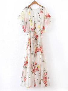 Chiffon Floral Printed Split-side Maxi Dress